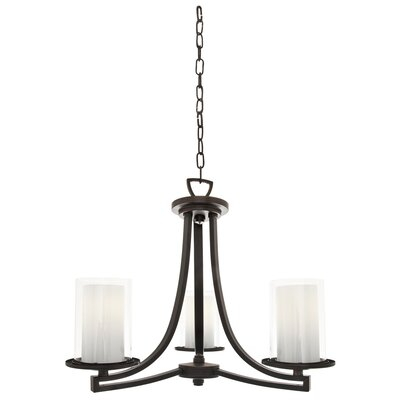 Essex 3-Light Shaded Chandelier Finish: Oil Rubbed Bronze, Shade Color: Half Opal