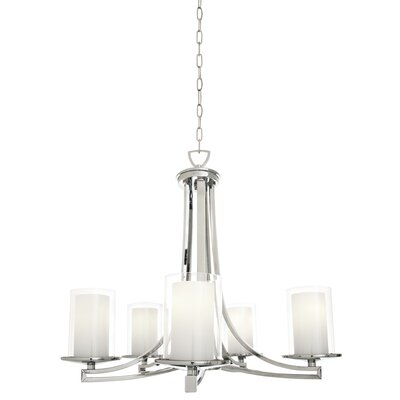 Essex 5-Light Shaded Chandelier Finish: Buffed Nickel, Shade Color: Half Opal