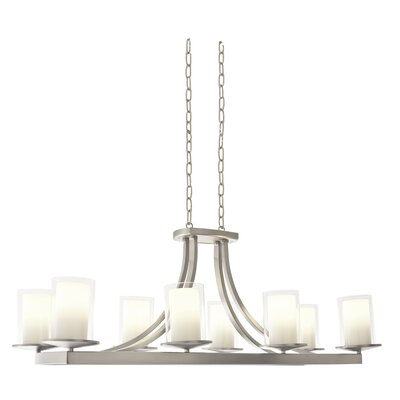 Essex 8-Light Shaded Chandelier Finish: Buffed Nickel, Shade Color: Half Opal
