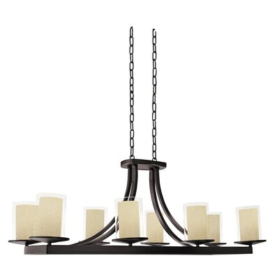 Essex 8-Light Shaded Chandelier Finish: Oil Rubbed Bronze, Shade Color: Butterscotch