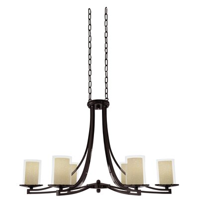 Essex 6-Light Shaded Chandelier Finish: Oil Rubbed Bronze, Shade Color: Butterscotch
