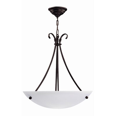 Georgian 3-Light Bowl Inverted Pendant Finish: Mocha, Size: 20 W