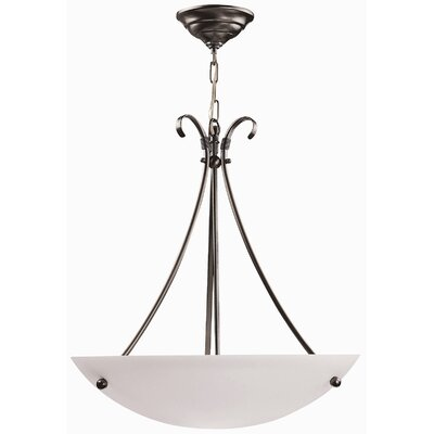 Georgian 3-Light Bowl Inverted Pendant Finish: Satin Nickel, Size: 16 W