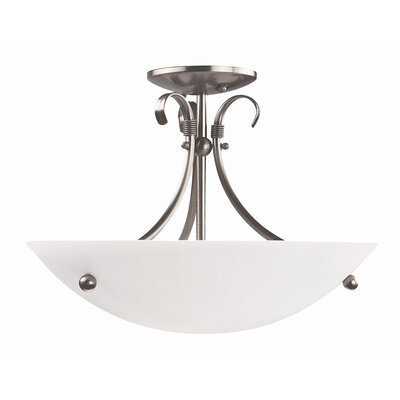 Georgian 3-Light Semi Flush Mount Finish: Satin Nickel