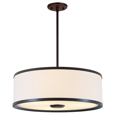 Milan 1-Light Drum Pendant Finish: Mocha with Sateen White Shade