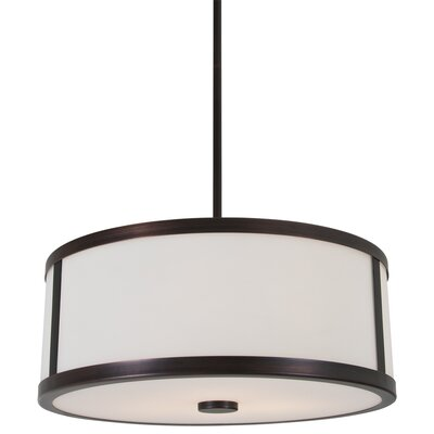 Uptown 3-Light Drum Pendant Finish: Oil Rubbed Bronze, Size: 16