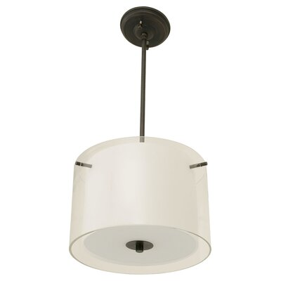 Essex 3-Light Drum Pendant Shade Color: Half Opal, Finish: Oil Rubbed Bronze