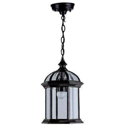 Hexagon 1-Light Outdoor Hanging Lantern Shade Type: Clear Beveled