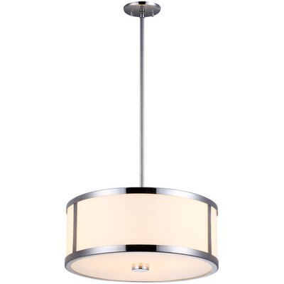 Uptown 3-Light Drum Pendant Finish: Chrome, Size: 18.5