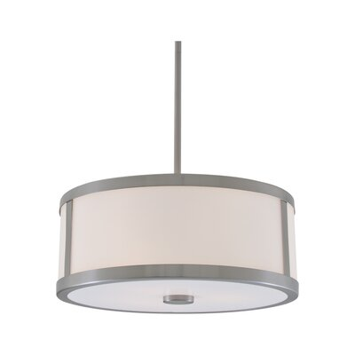 Uptown 3-Light Drum Pendant Finish: Chrome, Size: 16