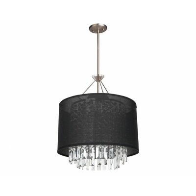 Piccadilly 3-Light Drum Pendant Finish: Buffed Nickel with Black Fabric Shade