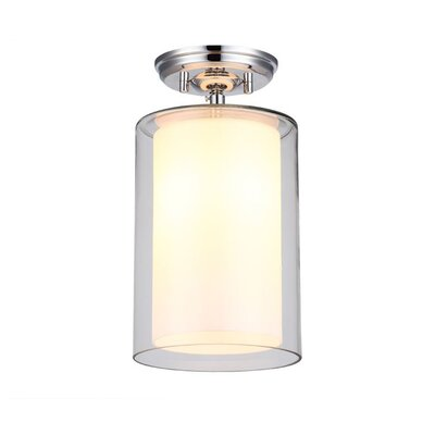 Sontag 1-Light Semi Flush Mount Finish: Oil Rubbed Bronze with Butterscotch Glass Shade