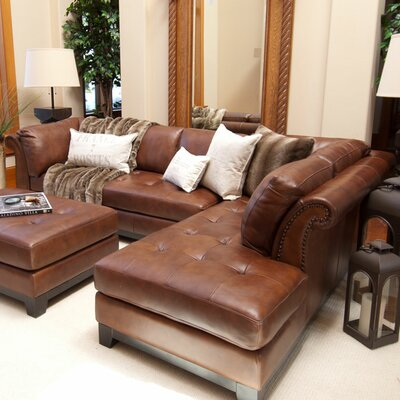 Corsario Leather Sectional Orientation: Right Hand Facing
