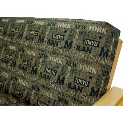 Municipal Sepia Box Cushion Futon Slipcover