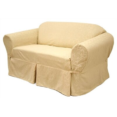 Easy Fit Damask Sofa Slipcover (3 Pieces) - Upholstery: Olive