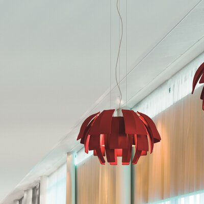 Plumage 3-Light Pendant Shade Color: Red