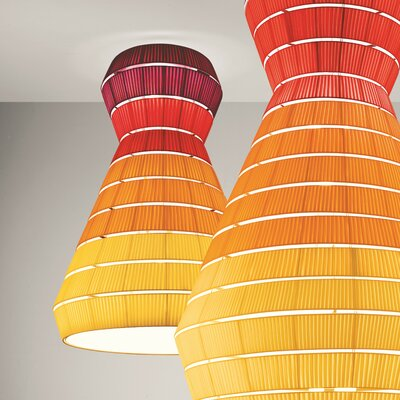 Layers A 9-Light Flush Mount Shade Color: Brick Red