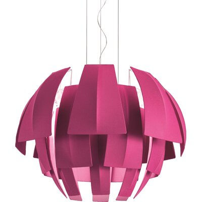 Plumage 6-Light Pendant Shade Color: Red, Size: 29.38 H x 47.25 W x 47.25 D