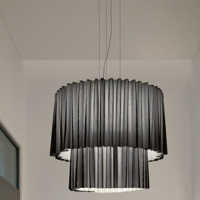 Skirt Double Tier LED Drum Pendant Finish: Black/Light Blue, Size: 165.38