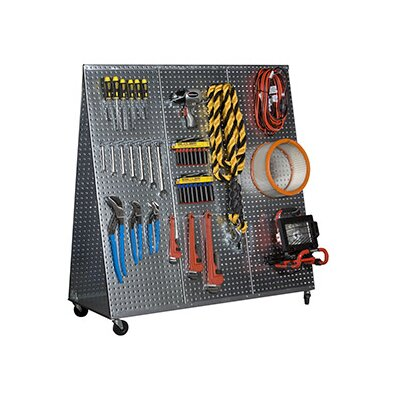 """48"""" x 20"""" """"A"""" Frame Metal Pegboard WOW Tool Cart with Wheels"""