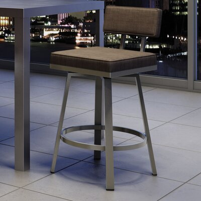 New York Style 26 Swivel Bar Stool Upholstery: Matte Light Gray/Dark Brown Gray