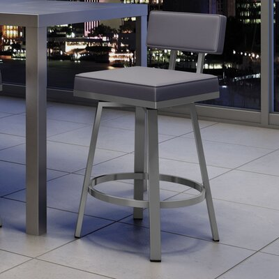 New York Style 26 Swivel Bar Stool Upholstery: Glossy Gray/Cold Gray