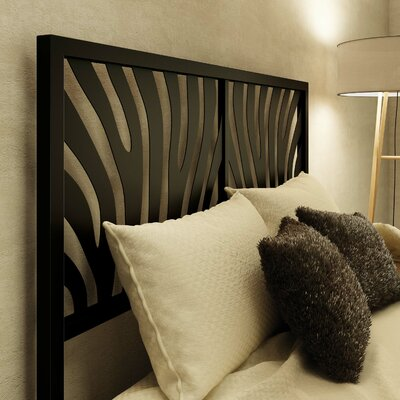 Zebra Open-Frame Headboard Size: Queen, Color: Textured Black