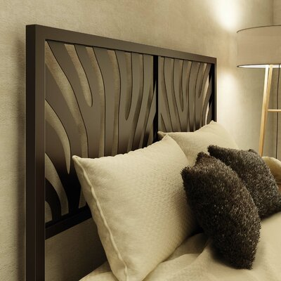 Zebra Open-Frame Headboard Size: Queen, Color: Textured Dark Brown