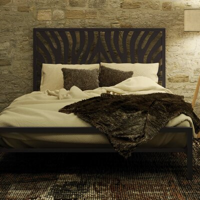 Zebra Platform Bed Finish: Textured Dark Brown, Size: Queen