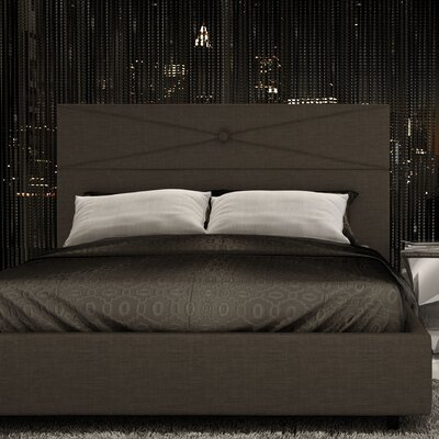 Diamond Upholstered Platform Bed Color: Dark Brown Gray, Size: Queen
