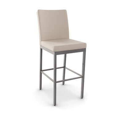 Driggers 26.25 Bar Stool Finish: Textured Dark Brown Metal/Beige PU, Upholstery: Beige Polyurethane