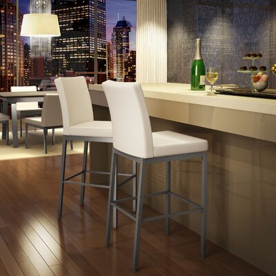 Perry 30.25 Bar Stool Finish: Glossy Grey/Beige