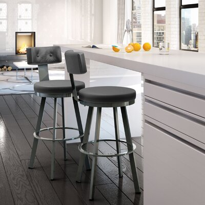 Tower 30.25 Swivel Bar Stool Finish: Glossy Grey/Matte Charcoal Black