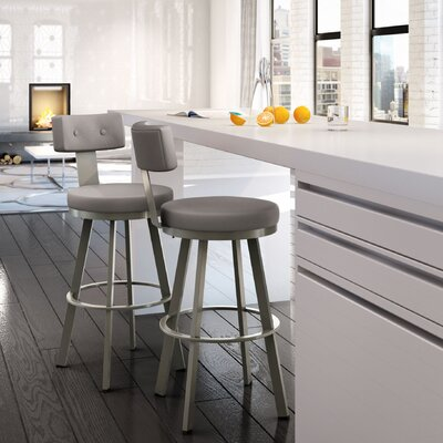 Tower 30.25 Swivel Bar Stool Finish: Matte Light Grey/Warm Grey
