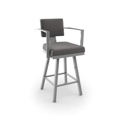 Perrotta 30.25 inch Swivel Bar Stool Upholstery: Fabric - Cloud, Finish: Magnetite