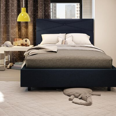 Diamond Upholstered Platform Bed Size: Full, Finish: Dark Navy Blue