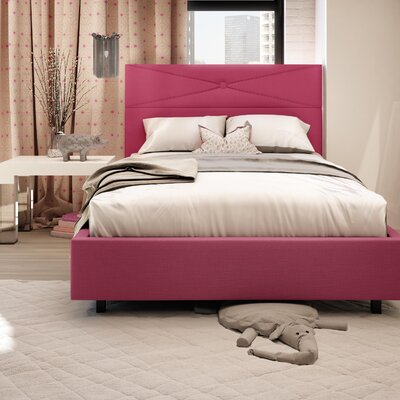 Diamond Upholstered Platform Bed Size: Full, Finish: Fuschia Pink