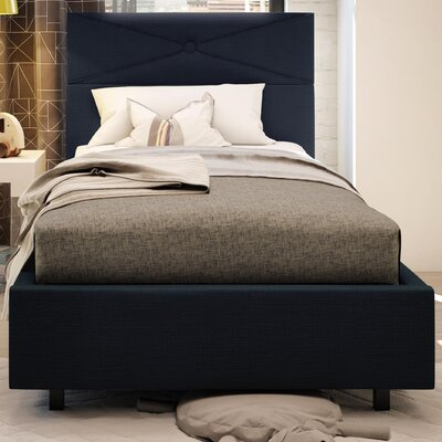 Diamond Upholstered Platform Bed Size: Twin, Color: Dark Navy Blue