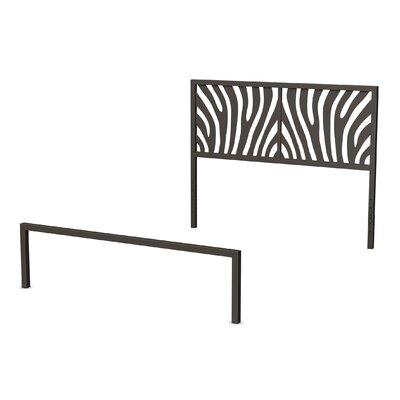 Zebra Open-Frame Headboard and Footboard Size: Full, Finish: Textured Dark Brown