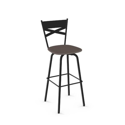 Tommy 30.63 inch Swivel Bar Stool Frame Finish: Black, Upholstery Color/Type: Warm Medium Gray/Polyester