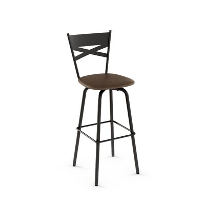 Tommy 30.63 Swivel Bar Stool Frame Finish: Dark Brown, Upholstery Color/Type: Medium Brown/Polyurethane