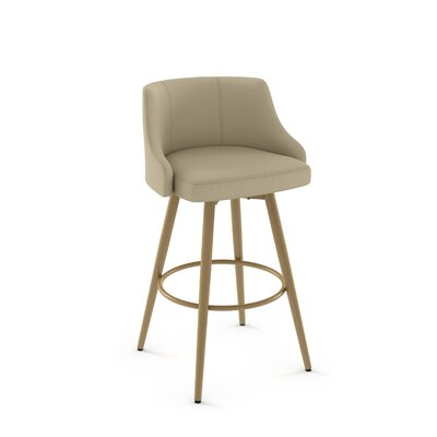 Duncan 31.75 Swivel Bar Stool Frame Finish: Sun Gold, Upholstery Color/Type: Beige/Fabric