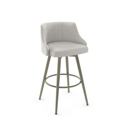 Duncan 31.75 Swivel Bar Stool Frame Finish: Matte Light Gray, Upholstery Color/Type: Pale Gray/Polyester