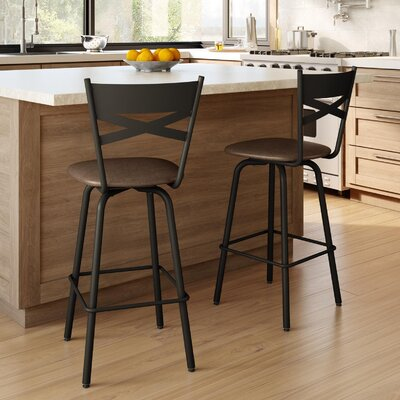 Tommy 26.63 Swivel Bar Stool Frame Finish: Dark Brown, Upholstery Color/Type: Medium Brown/Polyurethane