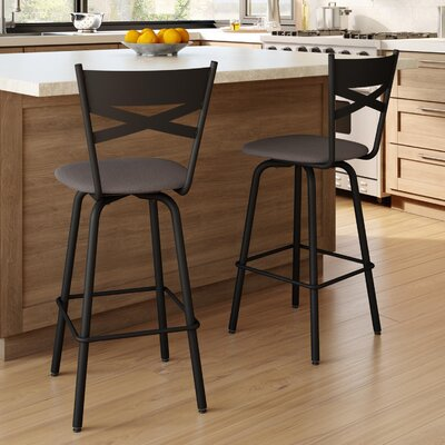 Tommy 26.63 Swivel Bar Stool Frame Finish: Dark Brown, Upholstery Color/Type: Warm Medium Gray/Polyester