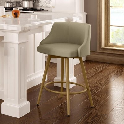 Duncan 27.75 Swivel Bar Stool Frame Finish: Sun Gold, Upholstery Color/Type: Beige/Other