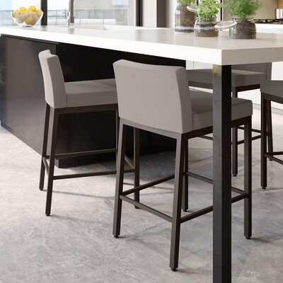 Fairfield 30 Bar Stool Frame Finish: Dark Brown, Upholstery Color: Warm Gray