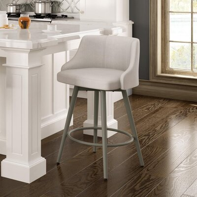 Duncan 27.75 Swivel Bar Stool Frame Finish: Sun Gold, Upholstery Color/Type: Pale Gray/Polyester