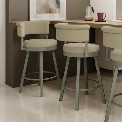 Rosco 30.75 Swivel Bar Stool Frame Finish: Matte Light Gray, Upholstery Color/Type: Beige/Fabric