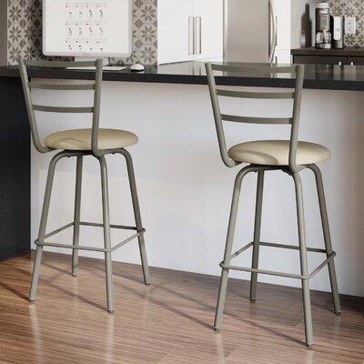 Sandy 26.5 Swivel Bar Stool Frame Finish: Matte Light Gray, Upholstery Color/Type: Beige/Fabric